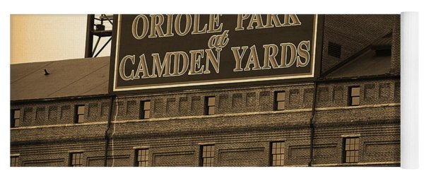 Baltimore Orioles Park At Camden Yards Sepia Yoga Mat