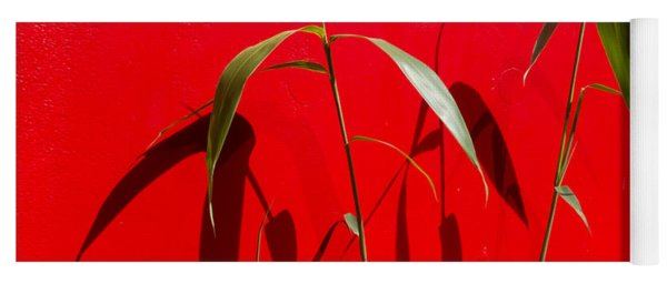 Bamboo Against Red Wall Yoga Mat