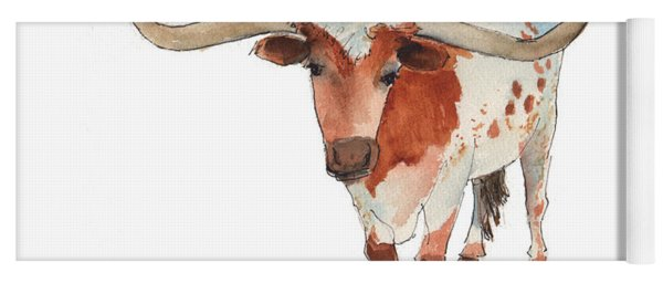 Texas Longhorn Bandero Watercolor Painting By Kmcelwaine Yoga Mat