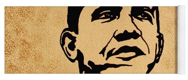 Barack Obama Original Coffee Painting Yoga Mat