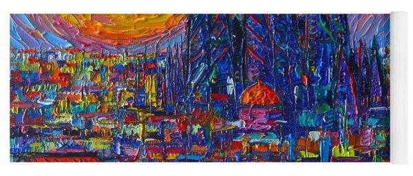 Barcelona Colorful Sunset Over Sagrada Familia Abstract City Knife Oil Painting Ana Maria Edulescu Yoga Mat