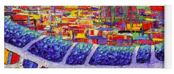 Barcelona Colors From Park Guell Abstract Stylized Cityscape Modern Impressionism Knife Oil Painting Yoga Mat