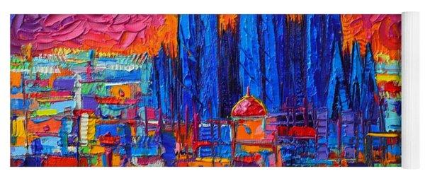 Barcelona Full Moon Over Sagrada Familia Modern Abstract City Knife Oil Painting Ana Maria Edulescu Yoga Mat