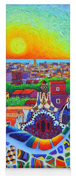 Barcelona Park Guell Sunrise Gaudi Tower Textural Impasto Knife Oil Painting By Ana Maria Edulescu Yoga Mat