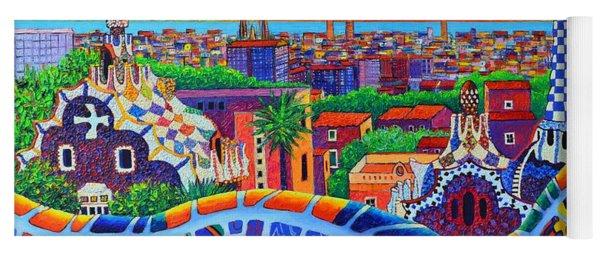 Barcelona Park Guell Sunrise Modern Impressionism Palette Knife Oil Painting By Ana Maria Edulescu Yoga Mat