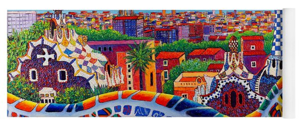 Barcelona Sunrise Colors From Park Guell Modern Impressionism Knife Oil Painting Ana Maria Edulescu Yoga Mat