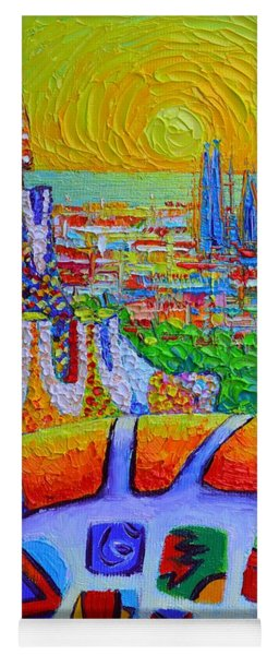 Barcelona Sunrise View Park Guell Abstract City Impressionism Knife Oil Painting Ana Maria Edulescu Yoga Mat