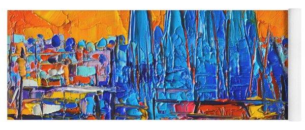 Barcelona Sunset Sagrada Familia Abstract City Palette Knife Oil Painting By Ana Maria Edulescu Yoga Mat