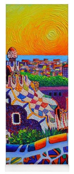 Barcelona View From Park Guell At Sunrise Sagrada Familia Knife Oil Painting Ana Maria Edulescu Yoga Mat