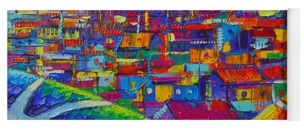 Barcelona View Sagrada From Park Guell Impressionist Abstract City Knife Painting Ana Maria Edulescu Yoga Mat
