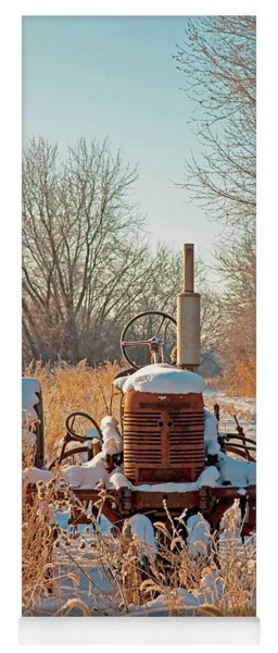 Bard Road Farm Il Tractor Frosted Field Winter  Yoga Mat