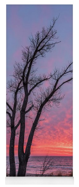 Bare Trees Overlooking A Beautiful Sunset Yoga Mat