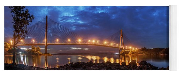 Yoga Mat featuring the photograph Barelang Bridge, Batam by Pradeep Raja Prints