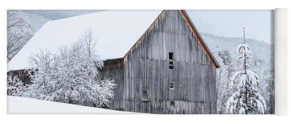 Barn After Snow Yoga Mat