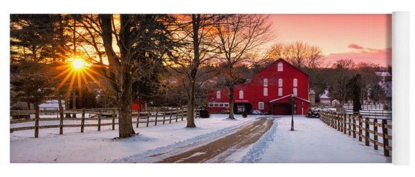 Barn At Sunset  Yoga Mat