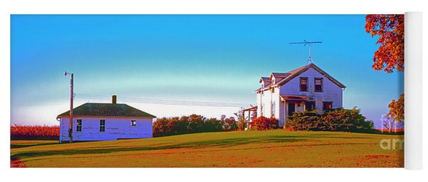 Barn, Farm, House, Out Buildings, Illinois ,farming,fall Yoga Mat