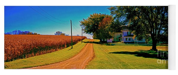 Dirt Road, Barn, Farm, House, Out Buildings, Illinois ,farming,fall,rural Yoga Mat
