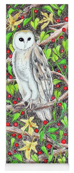 Barn Owl With Lattice Work Of Branches Yoga Mat