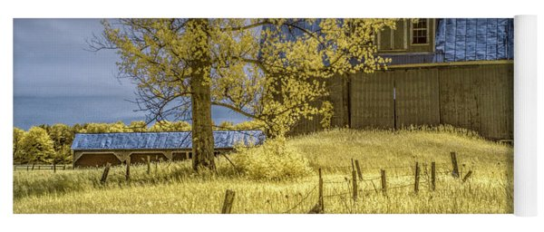 Barn With Barb Wire Fence In Infrared Yoga Mat