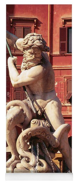 Baroque Sculpture Of Neptune Fountain In Piazza Navone, Rome, Italy Yoga Mat