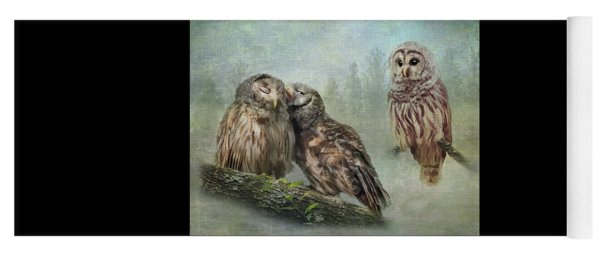 Yoga Mat featuring the photograph Barred Owls - Steal A Kiss by Patti Deters