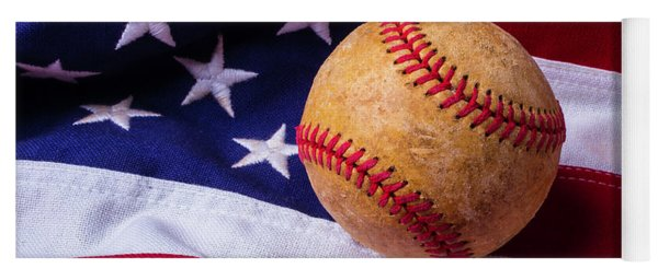 Baseball And American Flag Yoga Mat