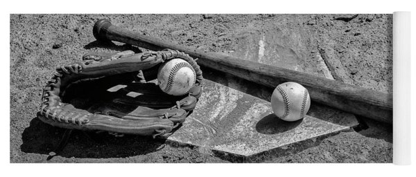 Yoga Mat featuring the photograph Baseball Game In Black And White by Bill Cannon