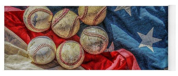 Baseballs On Flag Still Life Yoga Mat