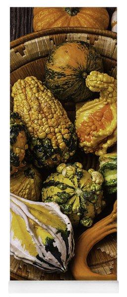 Basket Full Of Autumn Gourds Yoga Mat
