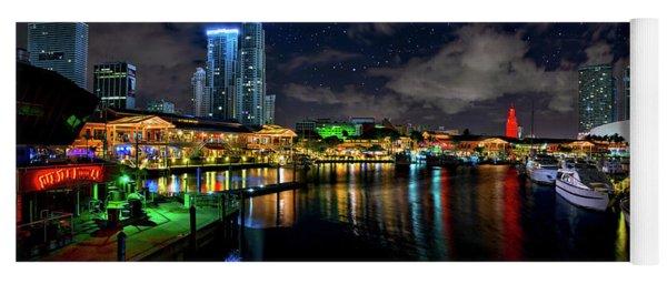 Bayside Miami Florida At Night Under The Stars Yoga Mat