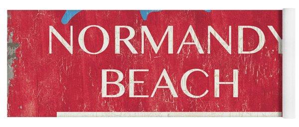 Beach Badge Normandy Beach Yoga Mat