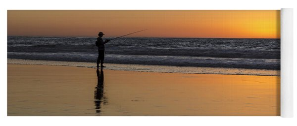 Beach Fishing At Sunset Yoga Mat
