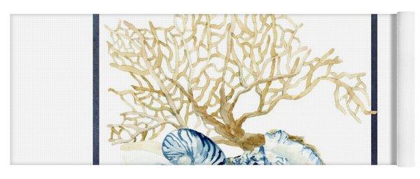 Beach House Nautilus Scallop N Conch With Tan Fan Coral Yoga Mat