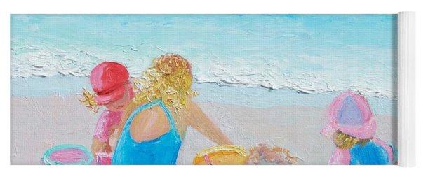 Beach Painting - Building Sandcastles Yoga Mat