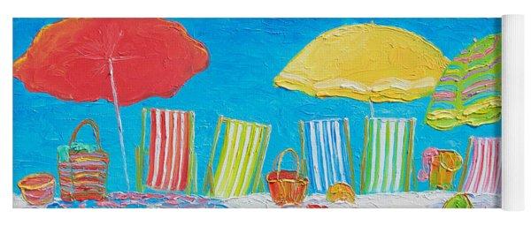 Beach Painting - Deck Chairs Yoga Mat