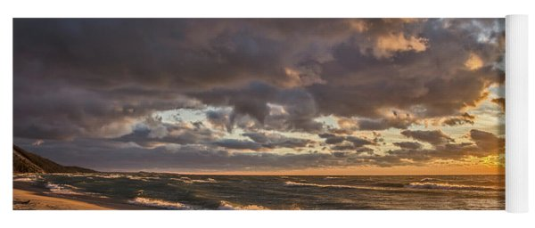 Beach Sunset On Lake Michigan Yoga Mat