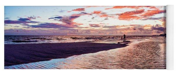 Beach Sunset Ripple Time Yoga Mat