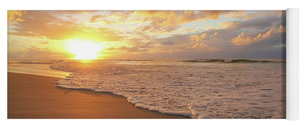 Beach Sunset With Golden Clouds Yoga Mat