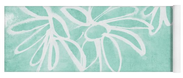 Beachglass And White Flowers 3- Art By Linda Woods Yoga Mat