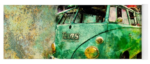 Beachy Rat Rod Surf Bus Watercolour Yoga Mat