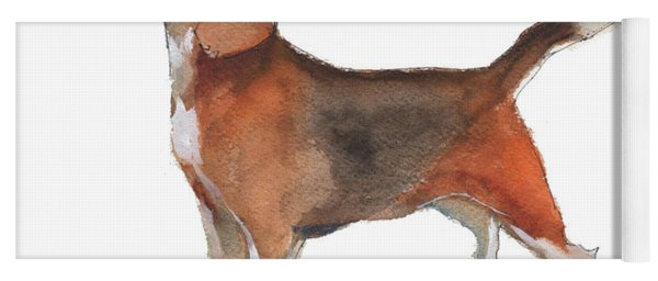 Beagle Watercolor Painting By Kmcelwaine Yoga Mat