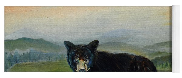 Yoga Mat featuring the painting Bear Alone On Blue Ridge Mountain by Jan Dappen