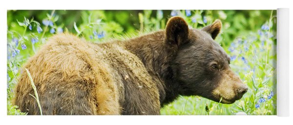 Bear In Flowers Yoga Mat