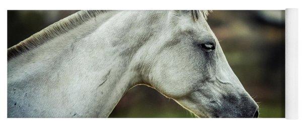 Equine Portrait White Horse Head Yoga Mat