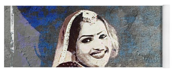 Beautiful Dancer Portrait Woman Blue Rajasthani Udaipur India 1b Yoga Mat