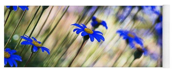 Beautiful Dancing Blue Flowers Romance Yoga Mat