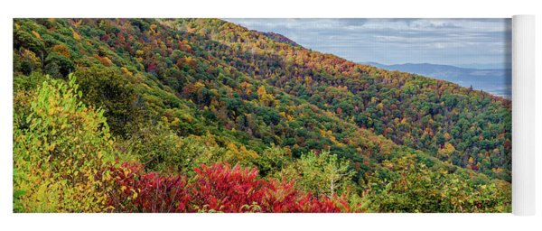 Yoga Mat featuring the photograph Beautiful Fall Foliage In The Blue Ridge Mountains by Lori Coleman