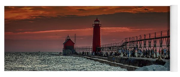 Sunset At Grand Haven Pier Yoga Mat