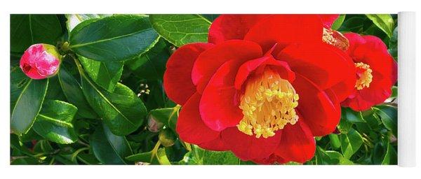 Beautiful Red Camellia Yoga Mat