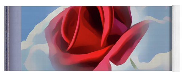 Beautiful Red Rose Cuddled By Cumulus Yoga Mat